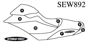 Sea Doo RXP-X 260 (12-15) / RXP-X 300 (16-20) / GTR-X 230 (17-19)  Hydro Turf Seat Cover