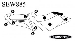 Sea-Doo GTR 215 (12-16) / GTI SE, GTI Ltd 155 (12-17) Hydro Turf Seat Cover